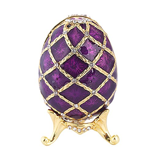 XKMY Joyero organizador de joyas esmaltado, caja de almacenamiento para regalo de boda o decoración del hogar (color morado)