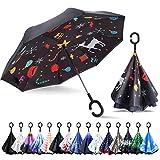 ZOMAKE - Paraguas de doble capa de cierre invertido, paraguas a prueba de viento con mango en C, se sostiene solo, del revés, manos libres, con bolsa de transporte, Navidad