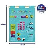 LUDI - Calendrier bleu pour enfant dès 3 ans. Panneau en tissu brodé 53 x 38 cm. Accroche murale avec une corde et une lamelle en bois. 45 étiquettes amovibles - réf. 2096