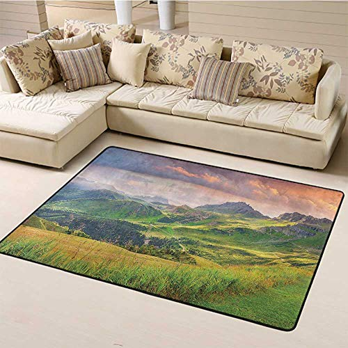 Indoor Modern Area Rugs Lake House Decor Printing Rug Pads Summer Landscape of Italian Alps at Sunset Meadow Serenity in Nature for Kitchen Bedroom Entryway Laundry Room Green White (4'x6')