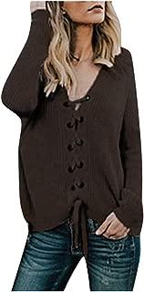 Shusuen Womens Waffle Knit Tunic Blouse Tie Knot Loose Fit Sweatshirts Lace Up Sweaters