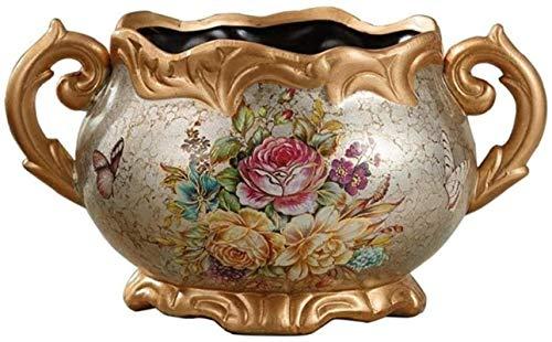 HZYDD Florero de cerámica macetas contenedor de cerámica D Encimera jarrones, Europen cerámica binaural Retro Home Decoraciones de moda arreglo de flores sala dormitorio decoración