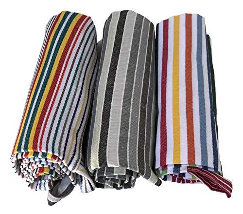 Strofinaccio, Canovaccio, Torcione, Set 3 Asciugamani per la Cucina di Cotone, per la Pulizia, Misura Grande 60x85, Colori a Righe, Prodotti in Italia