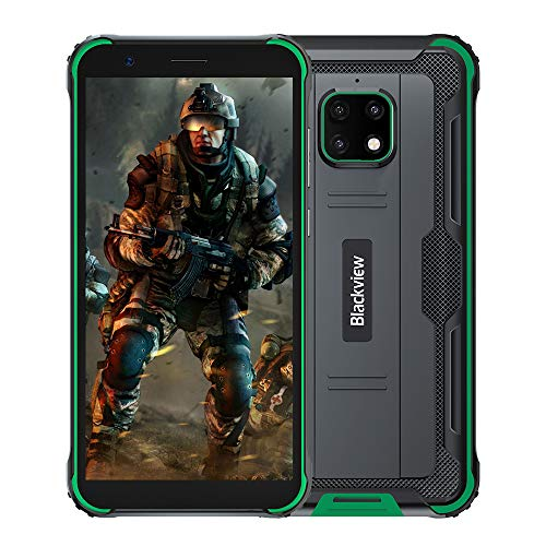 Blackview BV4900 Pro Günstige Outdoor Smartphone ohne Vertrag (4GB RAM, 64GB Speicher, Android 10, 13MP+5MP Kamera, 5580mAh, 5.7 Zoll HD+ Display, Dual SIM, NFC, OTG) IP68 Wasserdicht Handy Grün