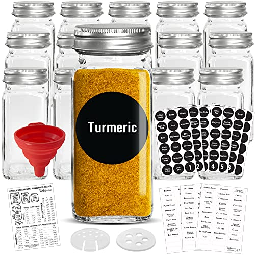 Talented Kitchen 14 Glass Spice Jars w/2 Types of Preprinted Spice Labels. Commercial Grade, Complete Set: 14 Square Empty Jars 4oz, Pour/Sift & Coarse Shakers, Airtight Cap, Chalkboard & Clear Labels
