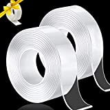 23FT Double Sided Tape Heavy Duty, Nano Tape for Wall Adhesive Mounting Clear Sticky Tape Removable Washable Traceless, 3 Rolls