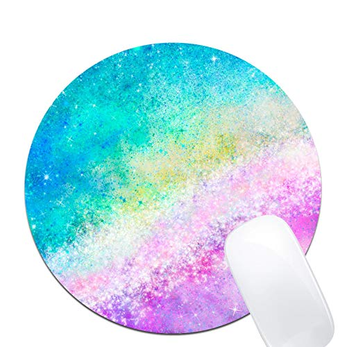 Cosmic Rainbow Colorful Art Galaxy Mouse Pad,Custom Round Mouse Pad Non-Slip Rubber Mouse pad Office Gaming Accessories Desk Decor Mouse Pads for Computers Laptop