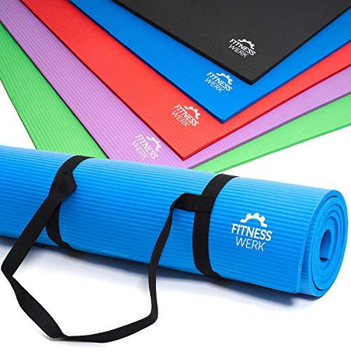 Fitnesswerk Gymnastik- u. Yogamatte | rutschfeste Fitnessmatte mit Trageband, Workoutposter, Workoutvideo | In 5 Farben | 180x60x1 cm | Dichter NBR-Komfortschaum | 1,3 kg | Markenqualität
