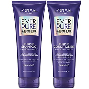 L Oreal Paris EverPure Brass Toning Purple Sulfate Free Shampoo and Conditioner 8.5 Ounce  Set of 2