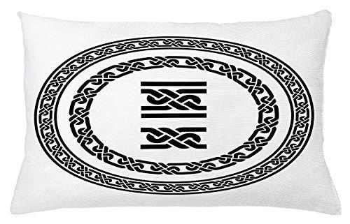 Lunarable Celtic Throw Pillow Cushion Cover, Old-Fashion Lace Celtic Knots Medieval Design Vikings Theme Graphic, Decorative Rectangle Accent Pillow Case, 26' X 16', Black White