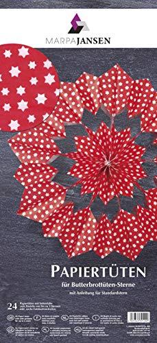 MarpaJansen Papiertüten für Deko-Sterne/Blüten - Bastelset - Butterbrottüten - (10 x 22 cm, 24 Stück) - inkl. Bastelanleitung - Sterne rot