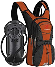 SHARKMOUTH FLYHIKER Hiking Hydration Backpack Pack with 2.5L BPA Free Water Bladder, Lightweight and Comfortable for Short Day Hikes, Day Trips and Trails, DarkOrange
