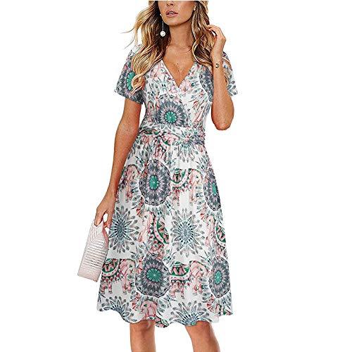 Reasoncool Kleid Lang Damen Mittellanger Sommerkleid Blumendrucken Kurzarm V-Ausschnitt Taillenkleid Strandkleid Freizeitkleid Abendkleider Elegant Dress Cocktailkleid