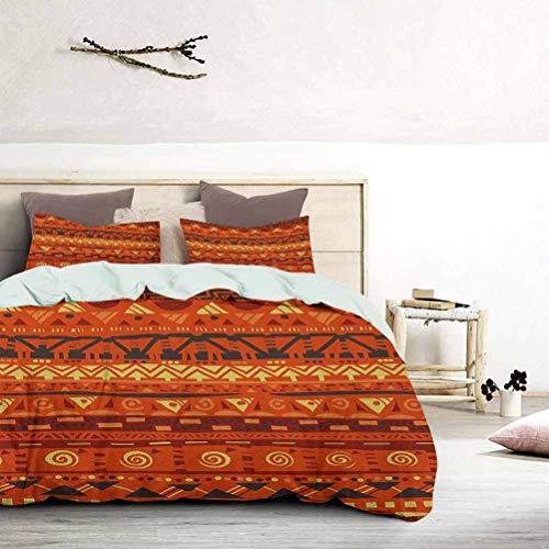 UNOSEKS LANZON Juego de ropa de cama con motivos folclóricos antiguos primitivos tribal arte ornamentos ilustración impresión ropa de cama conjunto fácil de lavar y secar naranja amarillo, tamaño king