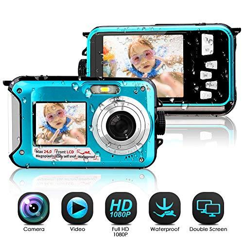 Camara Acuatica Sumergible 1080P Full HD 24MP Camara Fotos Acuatica Selfie Camara de Pantalla Dual