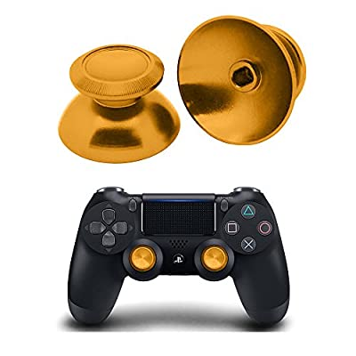 PinPle Metal Analog Thumbsticks Thumb Stick Joystick Replacement Cap Cover for PS4 PlayStation 4 Gold