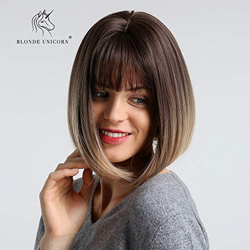Sexy Lady Medium rechte Volledige pruiken met een pony 12 inch Bob haar synthetische pruik Daily Dress for Women (Color : Brown gradient Blonde)
