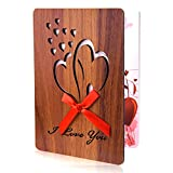 TUPARKA Día de la Madre Tarjeta de San Valentín feliz Tarjeta de felicitación de madera de imitación hecha a mano Tarjeta de amor de aniversario con sobre para el Día de San Valentín, Cumpleaños