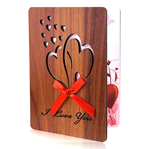 TUPARKA Tarjeta de San Valentín feliz Tarjeta de felicitación de madera de imitación hecha a mano Tarjeta de amor de aniversario con sobre para el Día de San Valentín, Día de la Madre, Cumpleaños