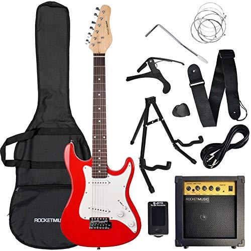3rd Avenue Conjunto de guitarra eléctrica de iniciación de tamaño 3/4 con amplificador, afinador, cable, soporte, funda de transporte, correa, púas de repuesto y cejilla, Rojo