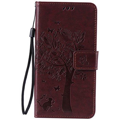 Preisvergleich Produktbild Fatcatparadise Kompatibel mit LG Nexus 5X Hülle + Displayschutz,  Prägung Muster Schutzhülle PU Leder Handyhülle Wallet Case Flip Hülle Brieftasche Ledertasche (Braun)