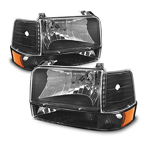 For 92-96 Ford Bronco F150 F250 F350 OE Style Black Housing Headlights + Corner Signal Lights