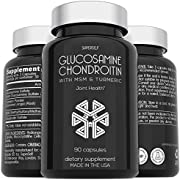 Glucosamine Chondroitin MSM with Turmeric - High Strength Joint Support Supplement for Adults Men & Women - 90 Capsules - 1500mg Glucosamine Sulfate per Serving - Joint Health