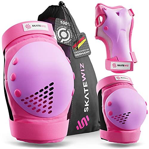 SKATEWIZ Inliner Schoner Kinder - SMASH - Größe S in Pink Violett - Knie Schutz Inliner Schoner - Handschutz Inliner Schützer Kinder