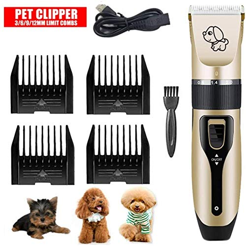 AMYD Chargeur USB à Faible Bruit Pet Hair Trimmer Remover Cut Toilettage Cat Dog Hair Trimmer Electric Pets Hair Cut Machine Five Fine-Tuning Speed + Four-Limit Comb (Size