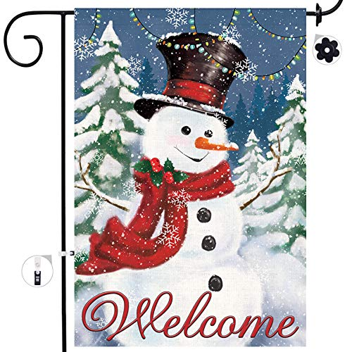 Bonsai Tree Christmas Garden Flags, Double Sided Snowman House Flags, Welcome Merry Christmas Flags 12x18 Prime, Winter Rustic Yard Signs Outdoor Decorations