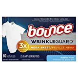 Bounce Bounce WrinkleGuard Mega Dryer Sheets, Fabric Softener and Wrinkle Releaser Sheets, Outdoor Fresh Scent, 80 Count, 80 Count