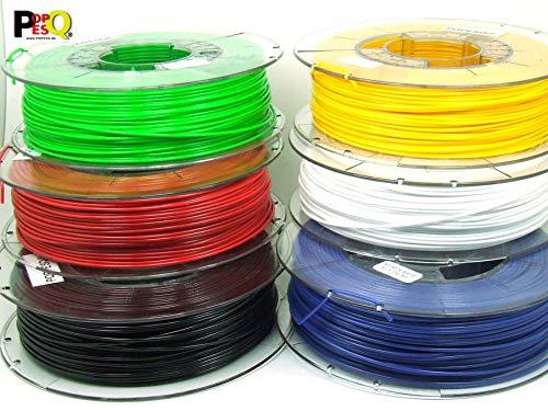 POPESQ 2 kg x Filamento 3D Stampante Pet-G 1.75mm 6 Colori Ogni 0.33Kg Rosso, Azzuro, Bianco, Verde, Giallo, Nero #A2370