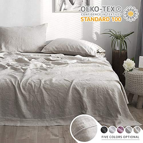 Simple&Opulence 100% Linen Sheet Set with Embroidery Stone Washed - 4 Pieces (1 Flat Sheet & 1 Fitted Sheet & 2 Pillowcases) Natural Flax Soft Bedding Breathable Farmhouse - Linen, Queen Size