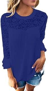 Mogogo Womens Stitching Lace Chiffon Ruffled Hollow Solid Tunic Top Blouse