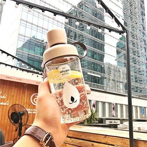 yylikehome Kawaii Fashion Wasserflaschen, süße Cartoon-Design, tragbar, für Sport, Obst, Zitrone, hitzebeständige Flasche, beige, 400 ml