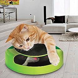 """Tech Traders®, bewegliches Katzenspielzeug """"Fang die Maus"""" aus Plüsch mit Kratzmatte für die Krallenpflege"""