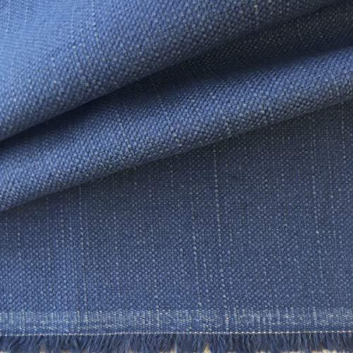 Tela de tapicería lisa - Panamá lino, algodón - Acabado desgastado - Retal de 280 cm largo x 140 cm alto | Azul: Amazon.es: Hogar