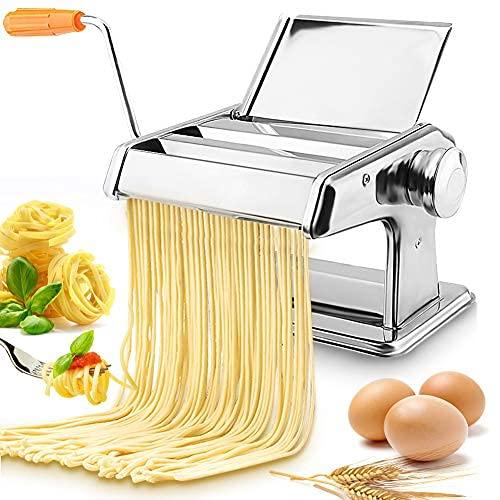 Macchina per la Pasta, Morsetti per Macchina Pasta con 2 rulli diversi per tagliatelle Macchina per pasta fatta in casa Con manico antiscivolo, per spaghetti freschi fettuccine lasagne