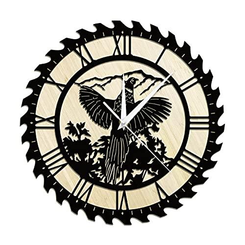 hufeng Reloj de Pared Reloj de Pared de Madera para Caza de Aves de faisán Reloj rústico de Sala de Estar Reloj Desierto Hombre Cueva