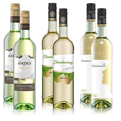 5,77€/l Chardonnay Weißwein Paket bestehend aus Andes, Overseas und Käfer Weine (6x0,75l)