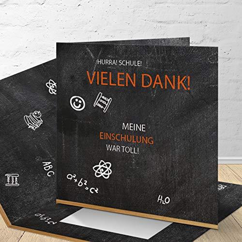 8 Danksagungskarten zur Einschulung mit passenden Umschlägen, Danksagungskarten zur Einschulung im Set zu 8 Stk.