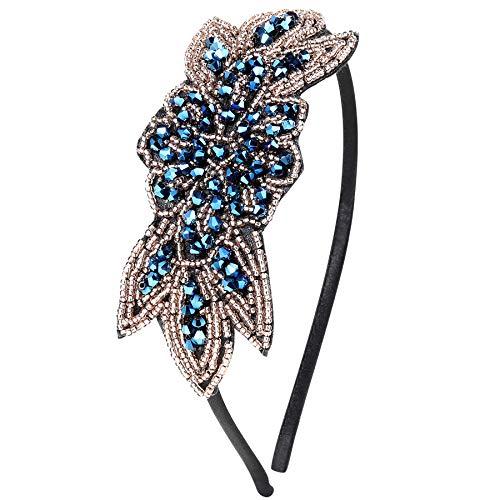 ArtiDeco 1920s Stirnband Damen Haarreif Gatsby Kostüm Accessoires 20er Jahre Flapper Haarband (Stil2 - Blau)