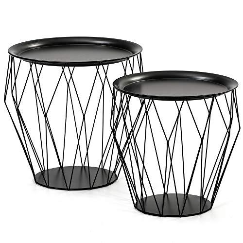 VS Venta-stock Juego 2 mesas de Centro café Kabul con Bandeja en Color Negro y Estructura de Metal en Negro