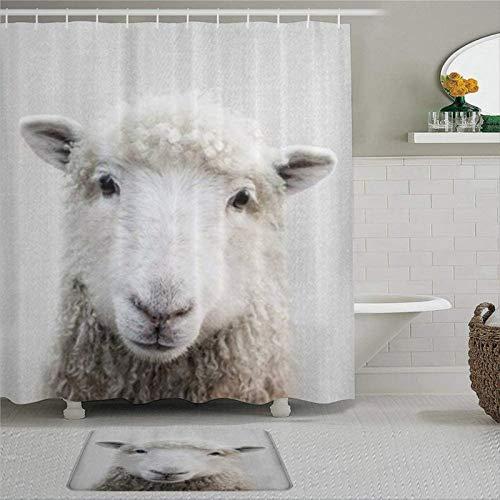 EricauBird Duschvorhang, Schaf, mit Ringen, Polyestergewebe, Duschvorhänge mit Haken, Bad-Dekor