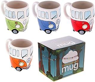 Volkswagen - Set of 4 Ceramic Shaped Coffee Mug/Cup Set (Red, Blue, Green & Orange) (VW Camper Van) By Giftbrit