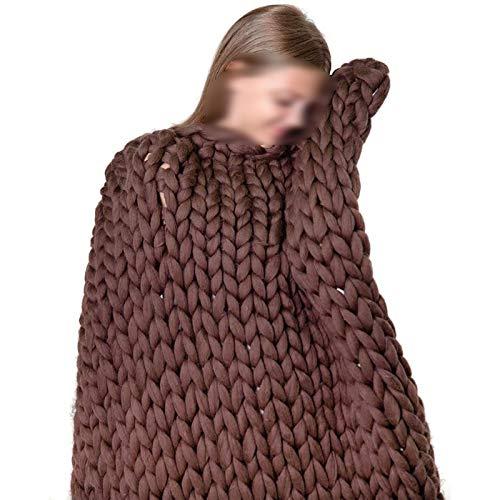 ZWDM Manta De Punto Gruesa Hecha A Mano Manta De Punto De Lana para Mascotas Sofá Súper Tejido Manta De Lana Decoración para El Hogar (Color : Dark Brown, Size : 100x150cm)