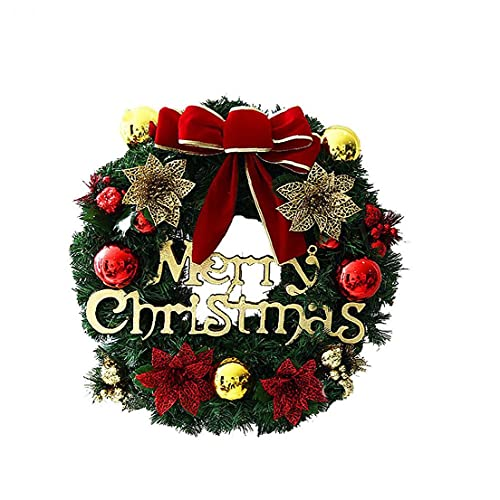 TongICheng Christmas Wreath, Merry Christmas Front Door Wreath Christmas Garland with Pine Cone Red Bow and Bells Perfect for Interior or Exterior Christmas Decor