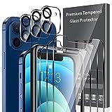 LK 6 Pack Protector de Pantalla Compatible con iPhone 12 6.1 Pulgada,Contiene 3 Pack Cristal Vidrio Templado y 3 Pack Protector de Lente de cámara, Doble Protección,Marco de Posicionamiento