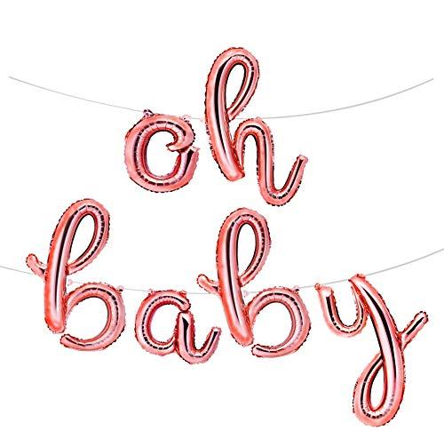 """Envizins 16"""" Rose Gold OH Baby Foil Balloons, for Baby Shower Decorations, Girl Gender Reveal, Straw and 32"""