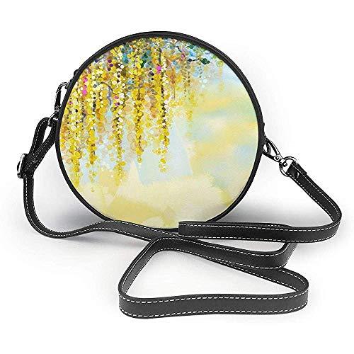 TURFED Yellow symbolisiert die runde Umhängetasche Women PU Shoulder Bag Circle Purse Messenger Bag mit verstellbaren Trägern